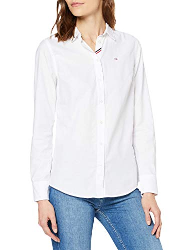 Tommy Jeans Tjw Slim Fit Oxford Shirt Camisa, Blanco (White 100), 34 (Talla del Fabricante: X-Small) para Mujer