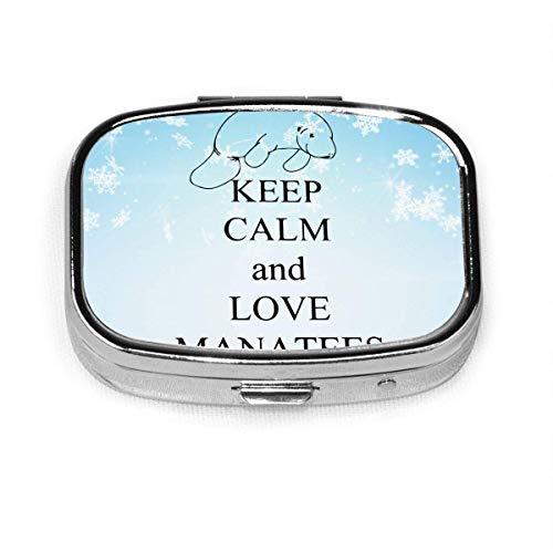 Keep Calm and Love Manatees Fashion Square Pastillero Vitamina Medicina Tableta Titular Cartera Organizador Estuche