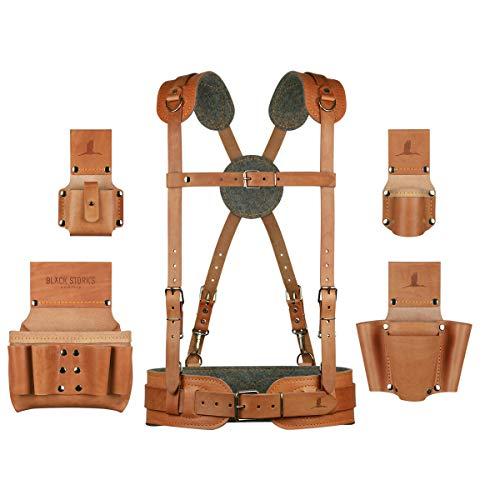 Elektriker-Monteur Werkzeuggürtel Komfort-Set aus Leder mit extra langen Schultergurten, Gürtelgröße L, Taillenumfang 90-100cm