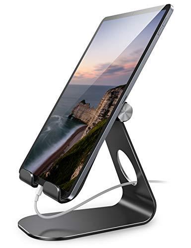 Amazon Brand – Eono Tablet Ständer Verstellbare, Tablet Halterung: Universal Halter Staender Dock für iPad Pro 9.7/10.5/11/12.9, Air Mini 1 2 3 4, Galaxy Tab und Tablet mit 5-13 Zoll - Schwarz