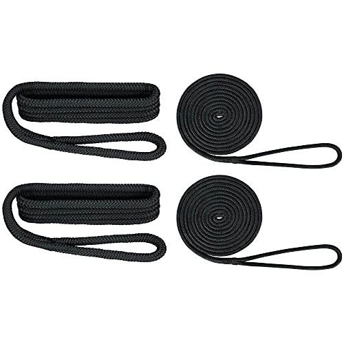 "Extreme Max Standard 3006.2693 BoatTector Premium Double Braid Nylon Dockside Rope Value Pack-1/2"", Black"