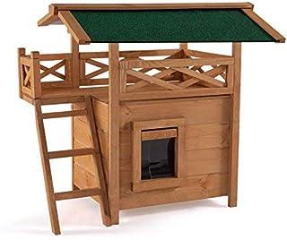 IDMarket - Maison pour Chat Lodge en Bois avec accès terrasse
