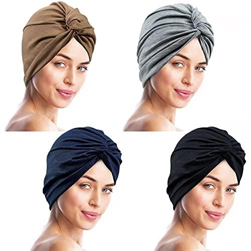YSense Africain Turban 4pcs Femme Mode Pré-Noué Bonnet de Pertede Cheveux Chapeau, Chimio Casquette (Color)