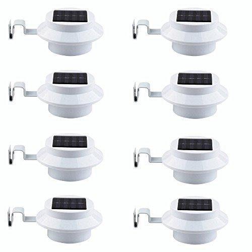 8 Pack Deal - FALOVE Outdoor Solar Gutter LED Lights - White Sun Power Smart Solar Gutter Night Utility Security Light