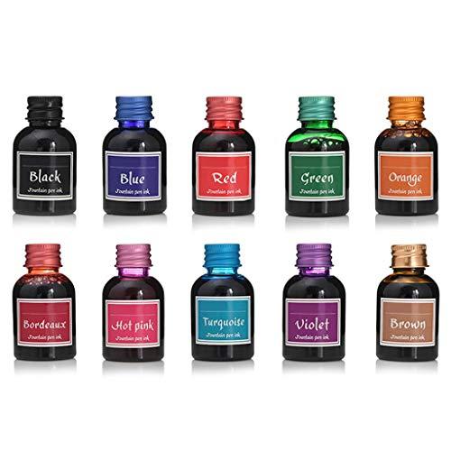 Baiyao 10 unidades de tinta colorida para pluma estilográfica, tinta de recarga para papelería escolar