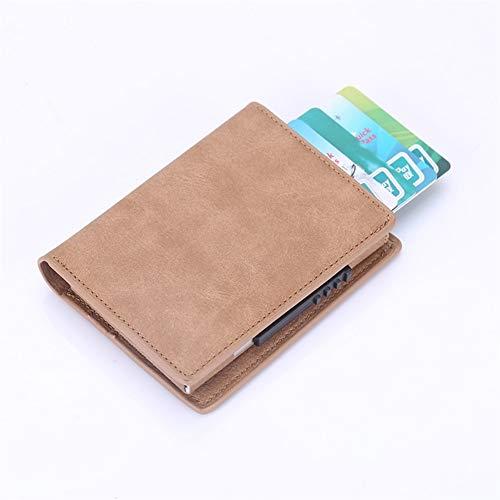 Glqwe RFID Men Kaarten pop-up-mappen leer metaal dunne dunne dunne mappen-portemonnee mannelijk korte clutch Smart Wallet Kleine Walet