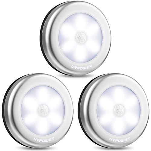 URPOWER Closet Lights, Motion Sensor Light Indoor, Battery Powered LED Closet Lights, Stick on Anywhere Motion Night Lights, Stair Lights, Wall Lights for Hallway, Bedroom, Kitchen (White-3 Pack)