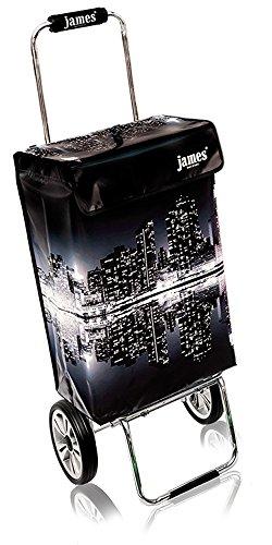 james® Einkaufstrolley Design N.Y.Skyline Deluxe, moderner Einkaufswagen, bunter Lifestyle Trolly, Rollkoffer, 40kg Tragkraft, klappbar, Made in EU!