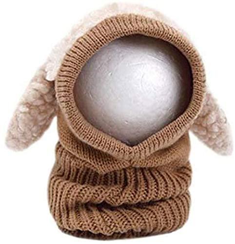 OFKPO Kinder Winter mütze und Schal mit Ohren,Schalmütze aus Wolle(Braun) - 3