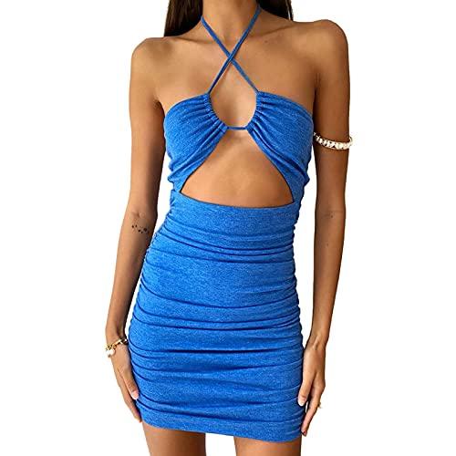 Glosun Vestido de verano para mujer con cuello halter, sin mangas, sin espalda, mini vestido de fiesta, playa, Y2K Streetwear, Azul A, S