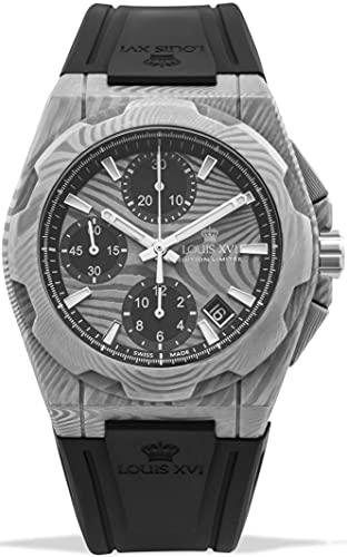 LOUIS XVI La Vauguyon 1201 - Reloj de pulsera para hombre (acero Damasco, correa de caucho, cronógrafo, analógico, automático)