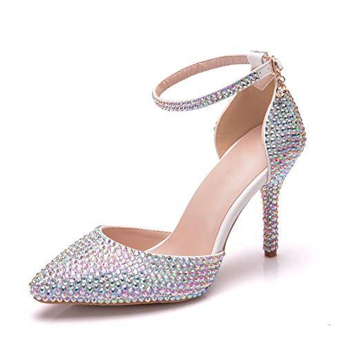 Zapatos De Novia Para Mujer, 9Cm Zapatos De Boda Huecos De Diamantes...