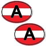 Biomar Labs® 2 Stück Vinyl Österreich Austria Flagge Aufkleber Autoaufkleber Stickers Auto Moto Motorrad Fahrrad Helm Fenster Tuning B 186