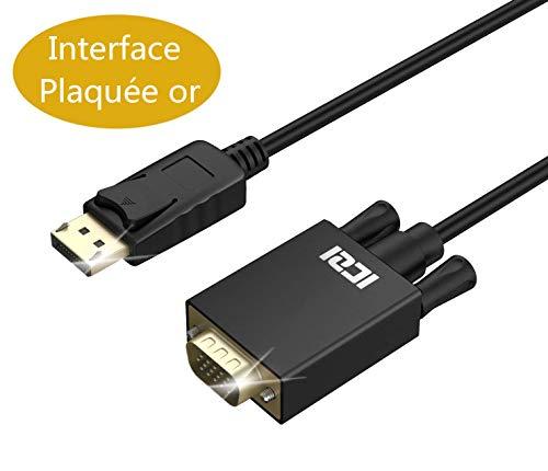ICZI Cable DP a VGA, Cable Adaptador DisplayPort a VGA 1080p Conector Chapado en Oro/Macho a Macho para conectar PC, Ordenador a Pantalla Gigante Monitor Proyector HDTV, 1m