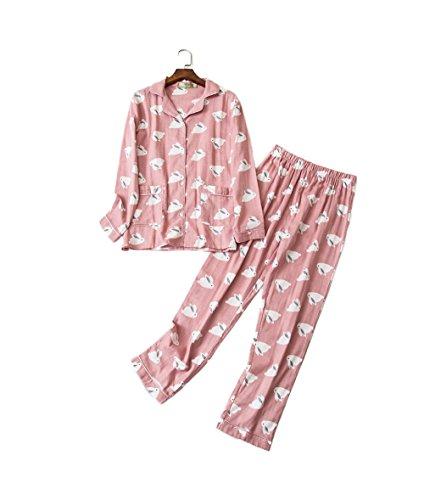 Damen Pyjama aus 100% Baumwolle mit Knopfleiste & Hemdkragen, Zweiteiliger Schlafanzug mit Kaninchen Muster, Rosa, M-XXL
