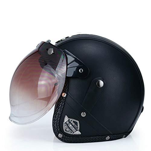 MYSdd Neuer Helm Open Face 3/4 Helm Personalisierte Herren Damen Vintage Retro Motorradhelm Gefüttert Weiche Komfortable Deodorant - a3 XM