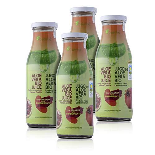 Green Frog Jugo de Aloe Vera Bio con Granada - Pack de 4 Botellas - Producto Fresco - Aloe Vera 99,8% Calidad Premium - 4x500 ml