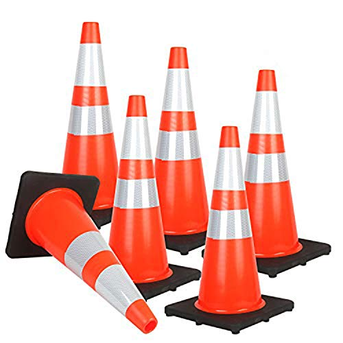 """Reliancer 6PCS 28"""" Traffic Cones PVC Safety Road Parking Cones with Black Weighted Base w/6""""&4"""" Reflective Collars Fluorescent Orange Hazard Cones Construction Cones for Traffic or Home Improvement"""