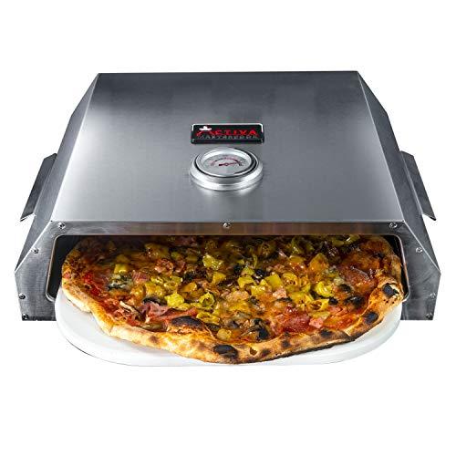 ACTIVA Pizza Box, Edelstahl Pizzaaufsatz ca. 44,5 x 13 x 35,5 cm, BBQ-Pizzaofen mit Temperaturanzeige für Holzkohlegrills und Gasgrills, Pizzaofen mit Pizzastein ca. 33,5 x 27,5 cm