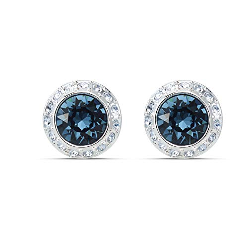 Swarovski Women's Angelic Stud Earrings, Set of White and Blue Swarovski Earrings with Rhodium Plating, part of the Swarovski Angelic Collection