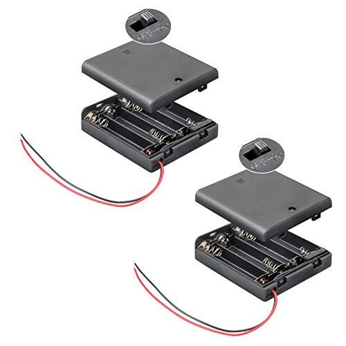 2X Batteriehalter | 4X AA Mignon | mit EIN Aus Schalter | lose Kabelenden | geschlossenes Gehäuse | wasserabweisend | schaltbar | Batteriefach Akkuhalter Aufbewahrungsbox | 2 Stück