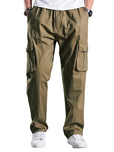 Mesinsefra Men's Elastic Waist Loose Fit Lightweight Workwear Casual Cargo Pull On Pants Tan Tag 3XL-US 38