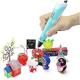 URANUS 3D Pen Starter Kit with LCD Display, Pen Stand, Power Adapter, 3 x 1.75mm ABS/PLA Filament … (Blue)