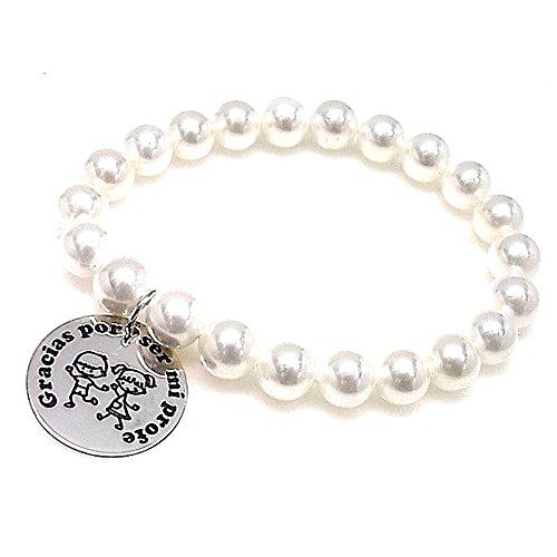 Silber Armband Act 925m Danke für meinen Lehrer Elastic Perlen 8mm zu sein. 21mm Scheibe. Rusty Briefe
