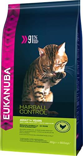 Eukanuba, Linea Hairball Control, Alimento Completo per Gatti Adulti, Crocchette di Pollo 4 Kg
