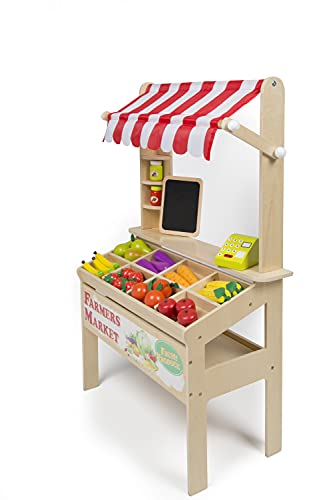 Wooden Farmers Market Stand - Kid s Playroom Furniture Grocery Stand for Pretend Play (30+ Pieces) - Includes Fruit  Chalkboard  and Cash Register