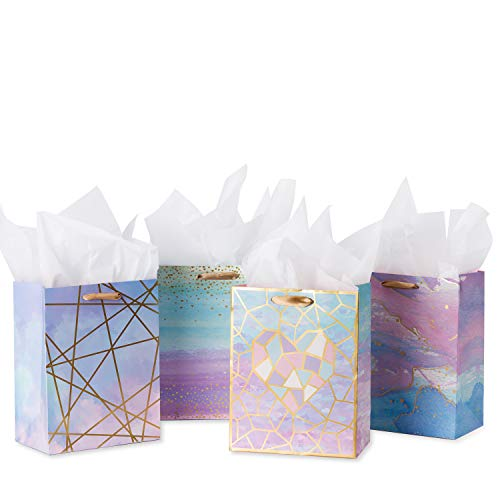 Loveinside Medium Size Gift Bags-Colorful Marble Pattern Gift Bag with Tissue Paper for Shopping,Parties,Wedding, Baby Shower, Craft-4 Pack-7' X 4' X 9'