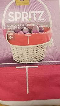 Monogram Letter T Pink & Purple Basket Liner Reversible Measures 18 X 11