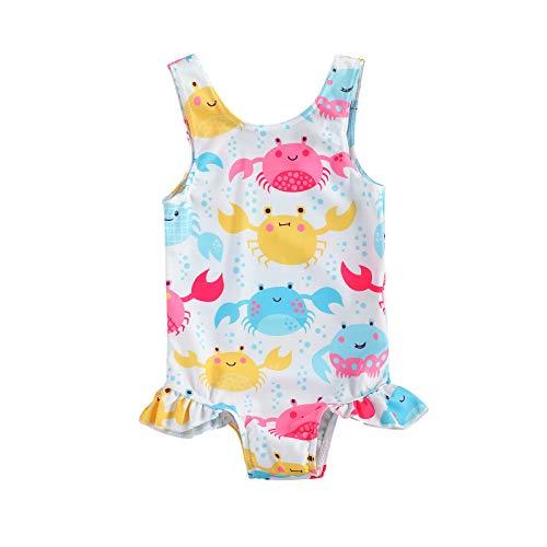 Chollius Disfraz de una pieza entera para bebé niña sin mangas, estampado de Arcobeleno 0-3 años Blanco Cangrejo 2-3 Años