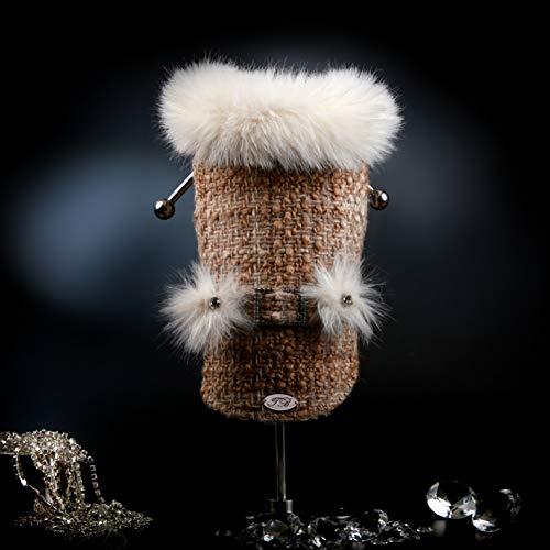 Trilly Tutti Brilli Laetitia mantel Tweed en kunstbont met strass en strass beige, XXS - 1 product