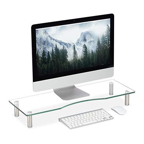Relaxdays Bildschirmständer Glas, TV Aufsatz, Notebookständer höhenverstellbar 9 - 11 cm, B x T: 70 x 24 cm, transparent