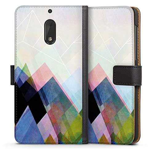 Custodia a Portafoglio Compatibile con Nokia 6 2017 Custodia per Cellulare di Similpelle Nera Cover a Libro Astratto Arte Design