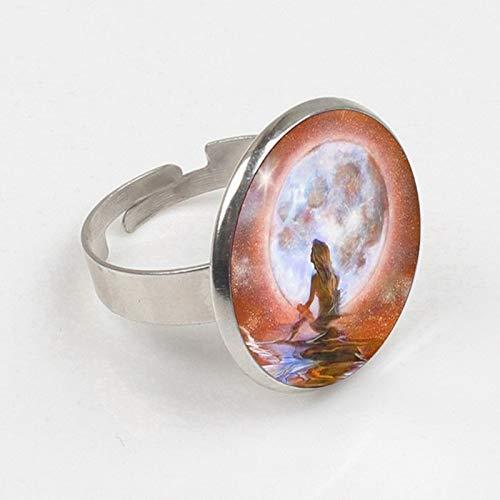 2019 Großhandel Glaskuppel Meerjungfrau Ring, Fantasy Malerei Schmuck, Kunst Glas Cabochon Meer Ring