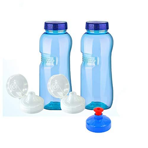 2 x 0,75 Liter Original Trinkflaschen aus TRITAN ohne Weichmacher Sparset: 2x 0,75 Liter (rund) + 2 Standarddeckel + 2 Sportdeckel (FlipTop) + 1 Trinkdeckel (Push PULL) Weichmacherfrei  BPA frei