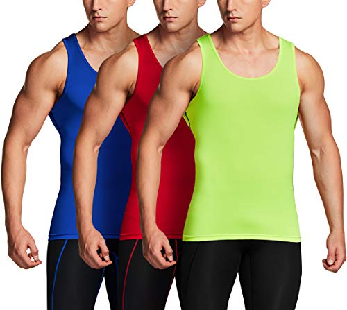 TSLA Men's Athletic Compression Sleeveless Tank Top, Cool Dry Sports Running Basketball Workout Base Layer, Active 3pack(mun24) - Neon Yellow/Blue/Red, XX-Large