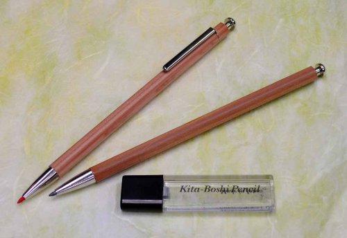Kitaboshi 2.0mm Mechanical Pencil, Wooden Barrel, With Lead Sharpener, #1 B, Black Lead, 1ea (OTP-680NST), natural wood color w/sharpener Photo #2