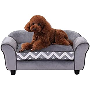 Customer reviews PawHut Pet Sofa Couch Dog Cat Wooden Sponge Sofa Bed Lounge Comfortable Luxury w/Cushion (Grey):Dailyvideo