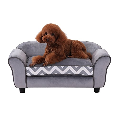 PawHut Pet Sofa Couch Dog Cat Wooden Sponge Sofa Bed Lounge Comfortable Luxury w/Cushion, Grey