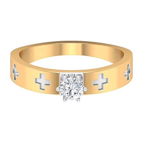 Anillo solitario de diamante de 1/4 quilates, anillos de banda de dos tonos para mujer, moderno anillo de oro (4 mm puntero redondo diamante), 14K Oro amarillo, Size:EU 70