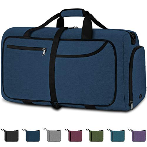 NEWHEY Bolsa de Viaje 100L Plegable Ligera Bolsa Deporte Hombre Impermeable Bolsa Fin de Semana con Compartimento Zapatos para Mujeres (azul-100L)