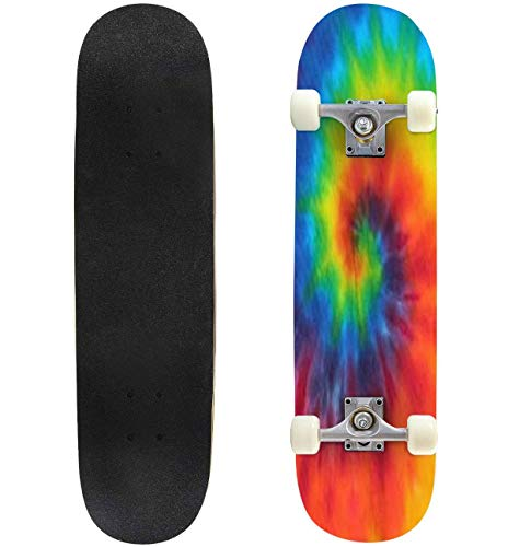 Classic Concave Skateboard tie dye Swirl Rainbow Longboard Maple Deck Extreme Sports and Outdoors Double Kick Trick for Beginners and Professionals