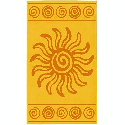 Delindo Lifestyle® Frottee Strandtuch Tropical Sun Yellow, 100% Baumwolle, Strandlaken ist 100x180 cm groß