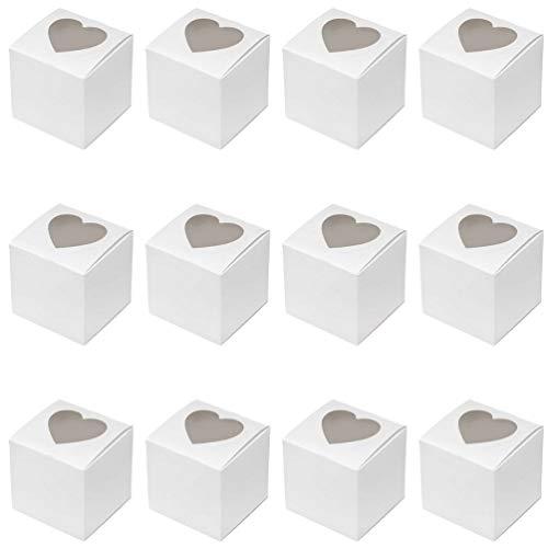 Hemoton Cupcake Boxen Durchsichtig Mini Kuchen Schachtel Kuchenkarton Tortenbox Geschenkbox mit Herz Klar Fenster zum Mitnehmen Verpackung Hochzeit Deko 50 Stück (Weiß)