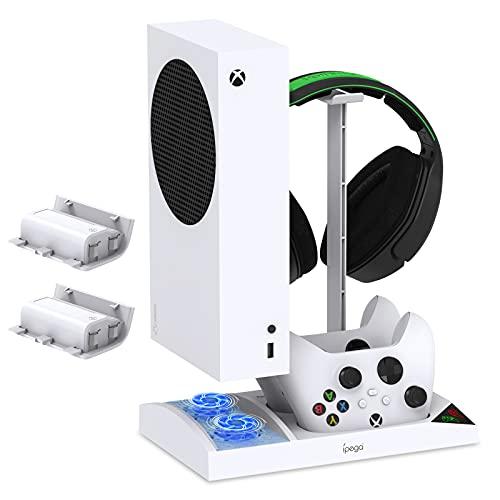 Supporto di raffreddamento verticale per console Xbox Series S e controller, stazione di ricarica di raffreddamento con 2 batterie ricaricabili da 1400 mAh, supporto per cuffie Xbox Series S- bianco