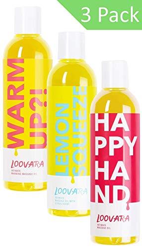 Loovara Vorteilspack Massage in Bottles, Massageöl im günstigen 3er Set – pflegendes Öl im Bundle | pflegende und natürliche Inhaltsstoffe | für das Vorspiel, Sex und Sexspielzeug geeignet