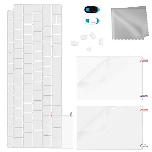 MOSISO Kit de Protección Completa Compatible con 2019 2018 MacBook Air 13 A1932, Protector de Pantalla&Cubierta de Teclado TPU&Tapón de Polvo&Cubierta de Webcam&Protector de Trackpad&Paño de Limpieza